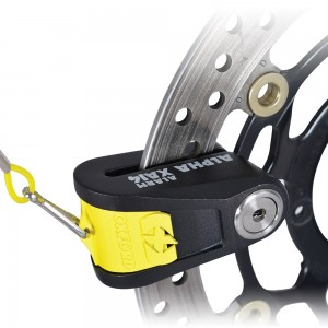Замок с сигнализацией на диск Oxford Alpha XA14 Alarm Disc Lock(14mm pin) Black/Yellow/Stainless